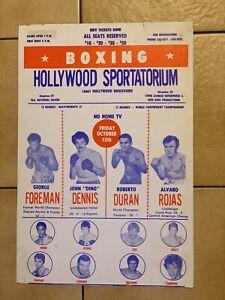 Rare 1976 George Foreman, Roberto Duran vs. Rojas vintage boxing poster trimmed