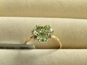 Rare Mozambique Mint Green Tourmaline & Diamond 10K Yellow Gold Ring Size N-O/7