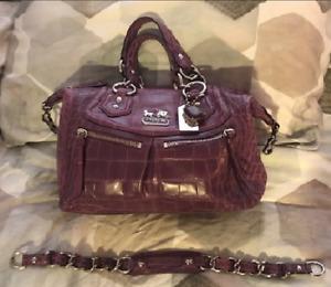 Coach Madison Audrey Corchid Lizard Embossed Leather Satchel Bag 15260