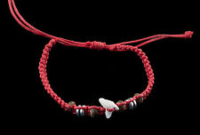 Bracelet brazilian tooth of shark real and pearls wood thread red BB 984