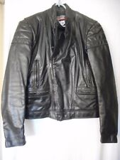 Brooks Size 38 Black Leather Cafe Racer Motorcycle Jacket quilted lining