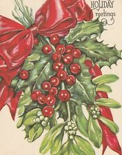 Beautiful Vintage Christmas Card Whitman Pretty Holly Berries design - unused