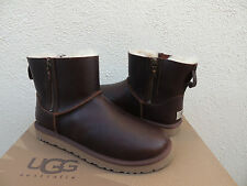 UGG BROWN CLASSIC MINI DOUBLE ZIP LEATHER/ SHEEPSKIN BOOTS, US 7/ EUR 38 ~NEW