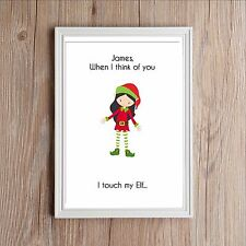 Personalised Adult Christmas Elf Name Print Gift SECRET SANTA STOCKING FILLER