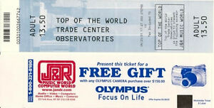WORLD TRADE CENTER Ticket - Top Of The World Observatories 2001 - reprint