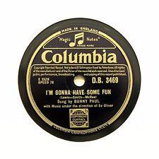 """Bunny Paul """"voy a tener algo de diversión/una noche"""" Columbia DB-3469 [78 Rpm]"""