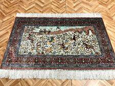 Orientteppich Teppich Seidenteppich Hereke Bilderteppich Signiert 156x96 Luxus