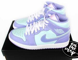 Nike Air Jordan 1 Retro Mid Purple Pulse Arctic Aqua Blue UK 5 6 7 8 9 10 11 12