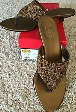 Women's Talbots Marden 6 Copper Brown Beaded Kitten Heel Sandals Shoes 8.5 M
