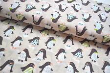 BLEND BW Winter USA Designerstoff  0,5 m Weihnachten PINGUINE Pinguin PASTELL B