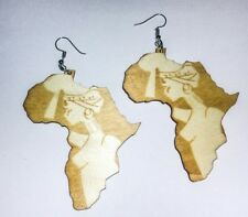 Africa Map Silhouette Statement Beautiful Woman Art Stencil Wood Earrings Cream