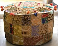 Large Indian Beige Round Seating Pouf Cover Foot Stool Vintage Patchwork Ottoman