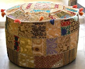 Indian Ottoman Pouffe Cover Beige Embroidered Patchwork Cotton Footstool Beanbag