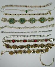 Vintage Rhinestone Stone Silver tone bracelet lot of 11, 2 Avon Cross, Mixed lot