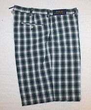 Polo Ralph Lauren Mens Blue Green Plaid Cotton Flat-Front Shorts NWT Waist 38