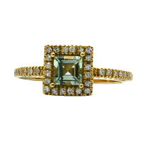 14K YELLOW GOLD PAVE DIAMOND GREEN AMETHYST COCKTAIL ENGAGEMENT HALO RING