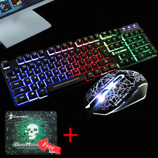 T6 Rainbow Backlight Usb Ergonomic Gaming Keyboard and Mouse Set for PC