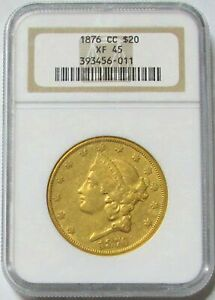 1876 CC CARSON CITY GOLD $20 LIBERTY HEAD DOUBLE EAGLE COIN NGC EXTRA FINE 45
