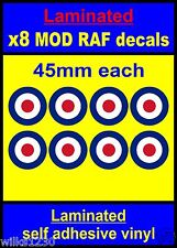 Laminated 8x 45mm RAF Roundel stickers Mod Target The Who Scooter Decals vespa