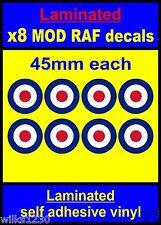 Laminato 8x 45 mm ADESIVI RAF COCCARDA MOD TARGET il CHI Scooter Decalcomanie Vespa