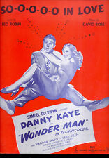 "Wonder Man Sheet Music ""So-o-o-o In Love"" Danny Kaye Virginia Mayo"
