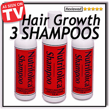 JUST NATURAL INGREDIENTS - 3 QTY - NUTRIFOLICA HAIR GROWTH SHAMPOO  no Minoxidil