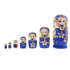 7PCS Wooden Russian Nesting Dolls Babushka Matryoshka Toy Ornaments Gifts