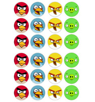 24 x Large Angry Birds Edible Cupcake Toppers Birthday Party Cake Decoration
