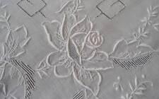 """Vintage Madeira Linen Tablecloth Set Embroidered Roses Drawnwork Floral 84"""""""