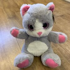 """PAWS Cute Grey, Pink & White Cat Soft Plush Toy Teddy 10"""""""