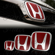 3PCS Front +Rear +Steering Wheel Red Emblem For 2006-2011 HONDA CIVIC COUPE 2DR