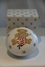 """Mikasa Teddy's Christmas 4 1/2"""" Round Covered Trinket Box Candy Dish Holiday"""