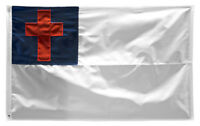 5x8 Embroidered Sewn Christian Cross Nylon Flag 5'x8' Banner grommets