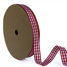 Gingham Ribbon Red and White 3/8 inch � 25 Yards, Buffalo Plaid Check Ribbon for