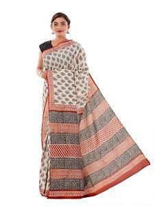 Traditional Bagru Hand Block Print Cotton Saree Hippie Wrap Dress Sari Indian