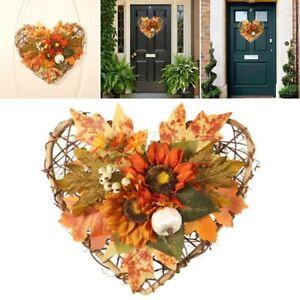 28*26cm Fall Door Pumpkin Wreath Autumn Color Maple Leaf Halloween/Decor Garland
