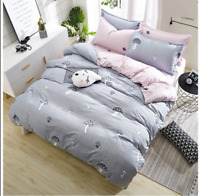 Mushroom Pattern Gray Bedding Set Duvet Cover+Sheet+Pillow Case Four-Piece New
