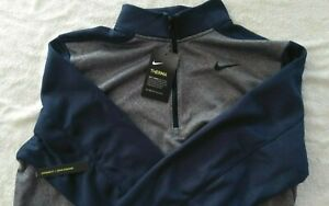 NEW W Tags NIKE Therma DriFit Half-Zip Golf Pullover Size Large Gray/Blue  New
