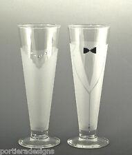 Asta Hand Etched Bride & Groom Beer Pilsners Wedding Toasting Glasses Set of 2