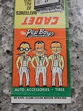 PEP BOYS BATTERIES & TYRES ADVERT MATCHBOOK 1950S --  60S ERA