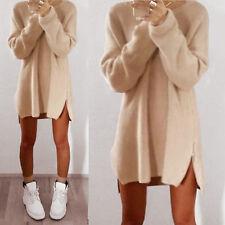 Womens Long Sleeve Jumper Tops Knitted Sweater Loose Mini T Shirt Dresses Winter