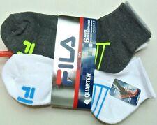 FILA Men's Socks 6 Pack Large Quarter Crew Grey White Cushioned Dry Athletic New