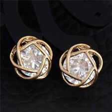 9K REAL GOLD PLATED STUD EARRINGS  0.6 CT MADE WITH SWAROVSKI CRYSTALS D5