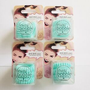 Invisibobble Traceless Hair Ring Lot of 4 Teal Aqua Styling Accessory Ponytail