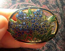 FIORI blu a fiori in smalto cloisonné ovale spilla vintage