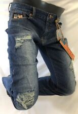 Mens LAGUNA BEACH LIGHT BLUE JEANS Straight Leg BROWN STITCH CRYSTAL DESTROYED