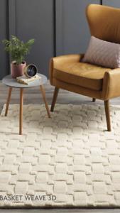 Origins Luxury Contemporary Wool Basket Weave 3D Rug Hand Tufted Cream 3 Sizes