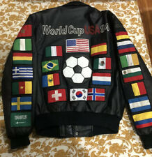 VINTAGE VTG 1994 94 WORLD CUP BLACK LEATHER JACKET SMALL S SOCCER MONTANA TOONS