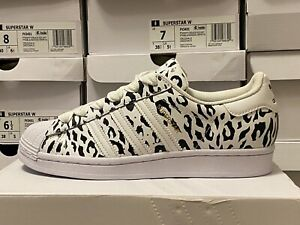 "Adidas Superstar Women's FV3451 ""CHEETAH PRINT"" SHELL TOE"" White/Black/Gold NEW"
