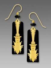 Adajio Gold Plated Deco Column Over Black Earrings Handmade in USA 7601